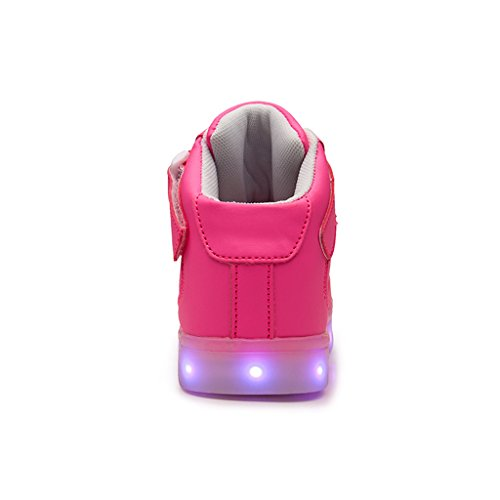 Dogeek Mens Bright Led Shoes Sneakers Con Luces Ilumina Pink Sport Shoes Para Hombre