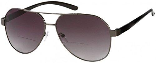 +3.00 Zweistärken Lesebrille Sonnenbrille, Designer Stil Grauer und Schwarzer Fliegerrahmen, 100% UV-Schutz Getönte Gläser, Retro Modisch Männer Frauen Unisex +3 Verschreibung