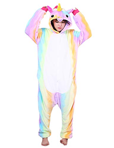 ShiyiUP Einhorn Schlafanzug Jumpsuit Erwachsene Kinder Pyjama Karneval Halloween Kostüm mit Kapuzen,11#,L (Erwachsene Halloween-kostüme Für Elf)