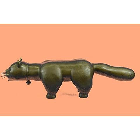 Statua di bronzo Scultura...Spedizione Gratuita...Animal Botero Cat Gato felina Grande Handcrafted(AL-395-EU)Statue Figurine Figurine Nude per ufficio e casa Décor Primo Giorno Collezionismo Articoli