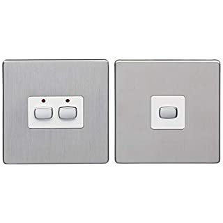 MiHome Smart Brushed Steel 2 Gang Light Switch (Two-Way)