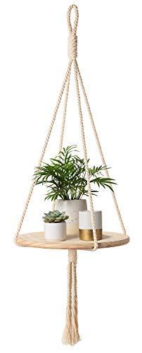 Mkono Holz-Hängeregal für den Innenbereich, Makramee, Pflanzenaufhänger, dekorativer Blumentopfhalter, Boho-Dekoration -