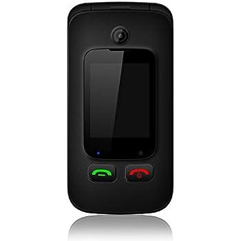 """Nordmende FLIP200 Telefono Cellulare, Dual Sim, Fotocamera, Base di ricarica, Torcia Led, Tasto SOS, Radio FM, Display interno da 2.4"""" Display da esterno da 1.77, Nero [Italia]"""