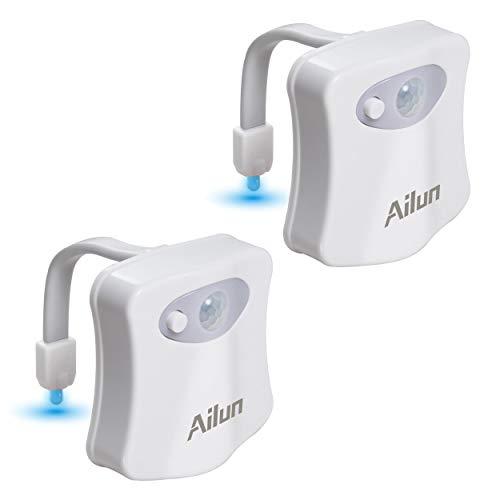 AILUN 2 Pack wasserdicht Toilette Licht WC Nachtlicht LED Lampe Sitz 8 Fabre Beleuchtung Lichtsensor Bewegungssensor Toilettenlicht Toilettenbeleuchtung, für Kinder Badezimmer Hause, Wasserhahnlicht