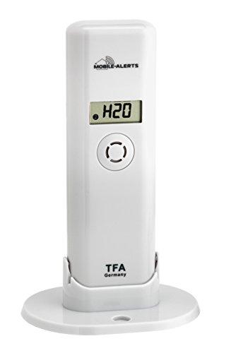TFA Dostmann Weatherhub Thermo-Hygro-Sender, mit Wassermelder, Smart Home, Abruf der Daten über Smartphone, Wasserschäden Warnung, Temperatur, Luftfeuchtigkeit