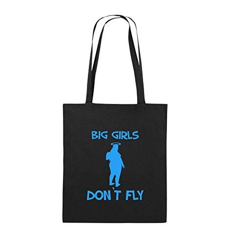 Comedy Bags - BIG GIRLS DON'T FLY - Jutebeutel - lange Henkel - 38x42cm - Farbe: Schwarz / Silber Schwarz / Blau