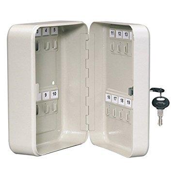 Armario de llaves de seguridad, ganchos para 20, caja de seguridad de metal con cerradura