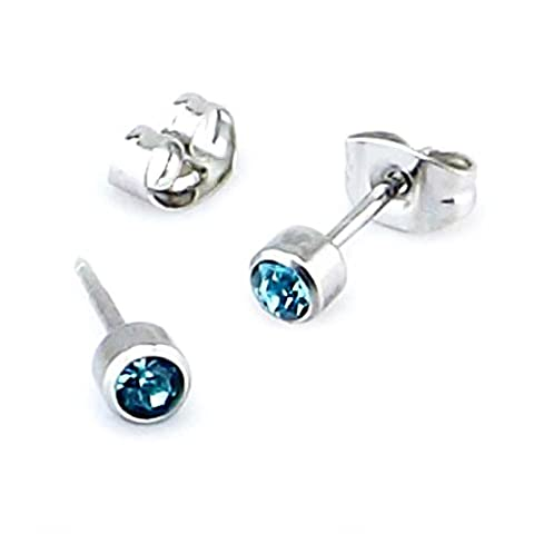 Aquamarine crystal gem Surgical steel stud earrings (Fits standard Ear Piercing) gauge 0.7mm