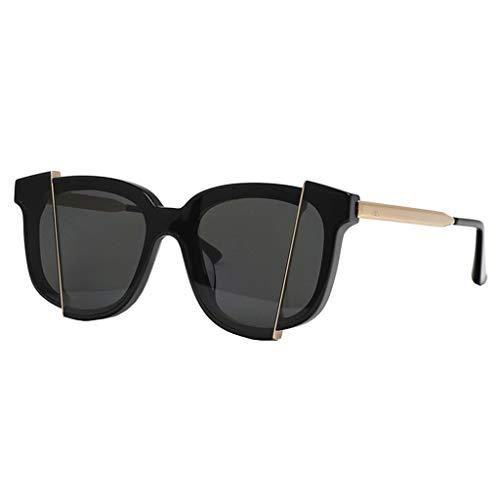 WangYi Sonnenbrillen- Vintage Unisex-Sonnenbrille mit UV-Schutz, Einteilige Nylon-Sonnenbrille, quadratische verlegte Sonnenbrille, handgefertigt Handmade Schwarz, Silber