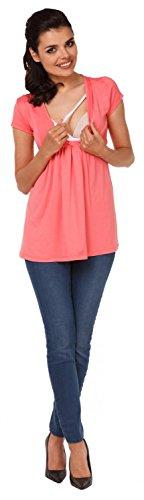 Zeta Ville - Maternité top de grossesse - Tee-shirt d'allaitement - femme - 373c Corail