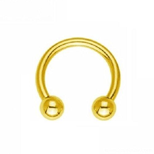 eeddoo Piercing Hufeisen Septum Gold Edelstahl Stärke: 1,6 mm Durchmesser: 7 mm 3 mm