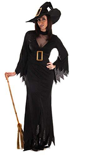 Hexe Kostüm Übergröße Schwarze - Fancy Me Erwachsene Damen Volle Länge schwarz Hexe Halloween gruslige Kostüm Kleid Outfit mit Hut STD &Übergröße - Schwarz, Plus (UK 16-20)