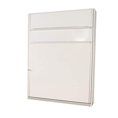 Zata Home Primer 140x190 Vertikal Weiss Schrankbett | ausklappbares Wandbett, ideal geeignet als Wandklappbett fürs Gästezimmer, Büro, Wohnzimmer, Schlafzimmer
