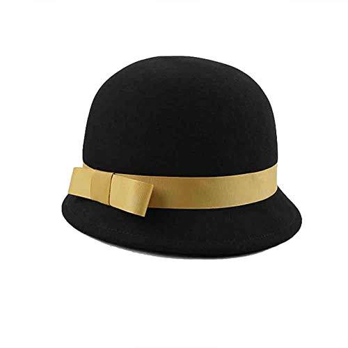 Sunny Eleganter Cloche der Frauen runder Filz-Eimer-Hut Fedoras, schwarzer Bowler-Hut-Bogen-Akzent (Farbe : Gold)
