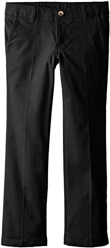 French Toast School Uniform Girls Stretch Twill Straight Leg Pants, Black, 6X