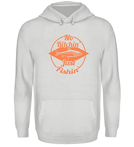 Angler T-Shirt |No Bitchin' Just Fishin'|Fischen|Fischer|Angeln| Geschenk - Unisex Kapuzenpullover Hoodie -S-Sport Grau -