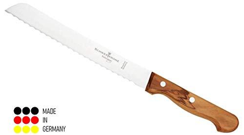 """Schwertkrone Brotmesser Wellenschliff Olivenholz aus Solingen Klingenlänge 20 cm 8\"""" rostfrei/Brotsäge..."""