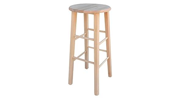 Sgabello sedia in legno con seduta tonda in legno grezzo da