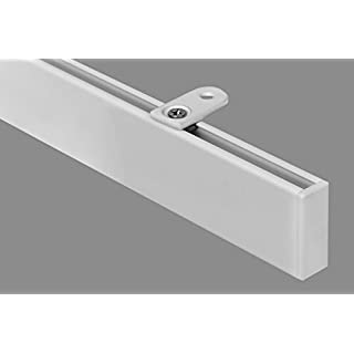 Megatrendline at home rechteckige Moderne Gardinenstange 35x14 mm Vorhangstange Innenlauf Deckenbefestigung 1-Lauf-Weiß-1,60 m