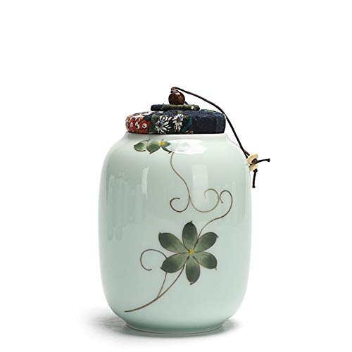 Celadon Von Hand Bemalt Tee Kann, Teekanne, Tee Set, Von Hand Bemalt Versiegelten Behälter, Tee Dosen Container, Tee-vorratsglas-e 9x13.5cm(4x5inch) -