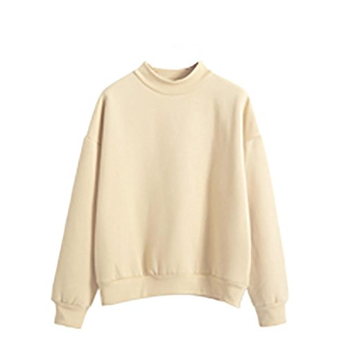 Fleece Sweatshirt mit Rundhalsausschnitt Sannysis Jumper Pullover Oberteile (S, Khaki) (Khaki Plaid Baumwolle)