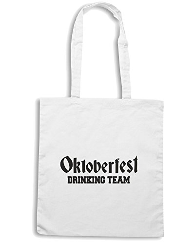 T-Shirtshock - Borsa Shopping BEER0132 Oktoberfest Drinking Team Bianco