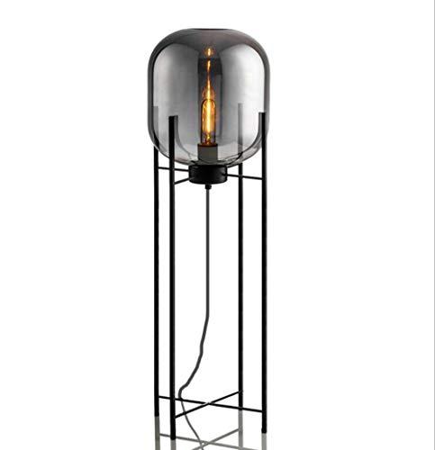 SKSNB Glas-Stehlampe, Art Deco-Stehlampe, Bernstein geräucherte Schmiedeeisen-Halterung, Wohnzimmer, Country Bar, Hotel-Schlafzimmerbeleuchtung,Smokegray