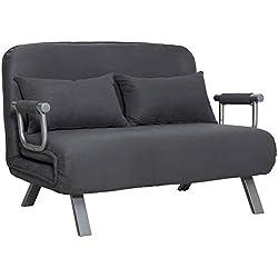 Homcom Canapé-lit canapé Convertible 2 Places déhoussable Grand Confort 2 Coussins fournis Pieds accoudoirs métal suède Gris