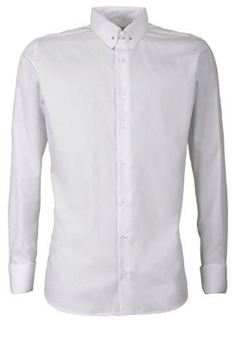 Schaeffer Hemd Modern Cut uni weiß Piccadilly Kragen / Pin Collar Collar Pin Shirt