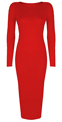 Dames celebrity style lange mouwen vrouwen potlood bodycon meisjes feestjurk rood