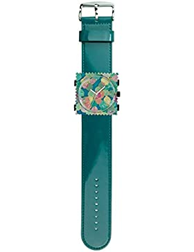 S.T.A.M.P.S. Stamps Uhr komplett - Zifferblatt Viola mit Lederarmband glossy petrol