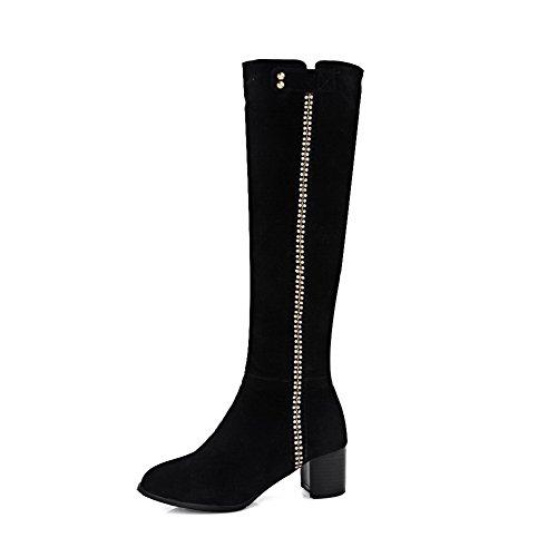 AllhqFashion Damen Mittler Absatz Mattglasbirne Eingelegt Stiefel mit Beschlagene Strass, Schwarz, 35