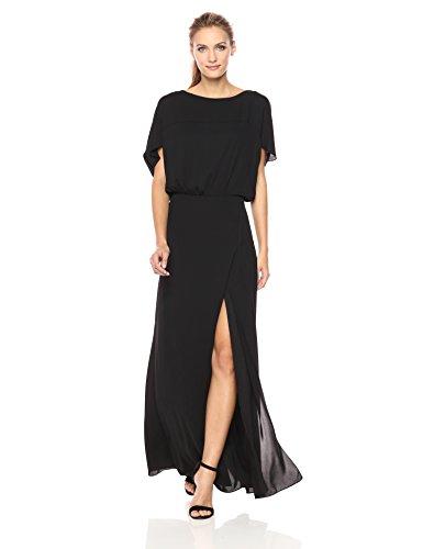 Halston Heritage Women's Flowy Short Sleeve Wide Boatneck Gown with Split, Black, XS - Ladies Boatneck