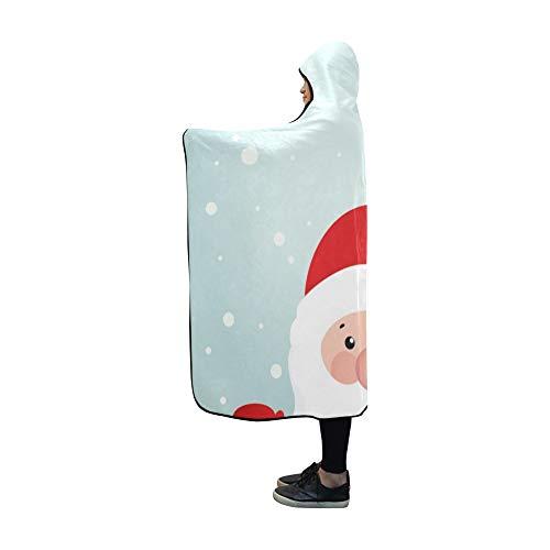 Ysjxim coperta con cappuccio retro cartolina di natale in stile babbo natale coperta da 60x50 pollici comfotable hooded throw wrap