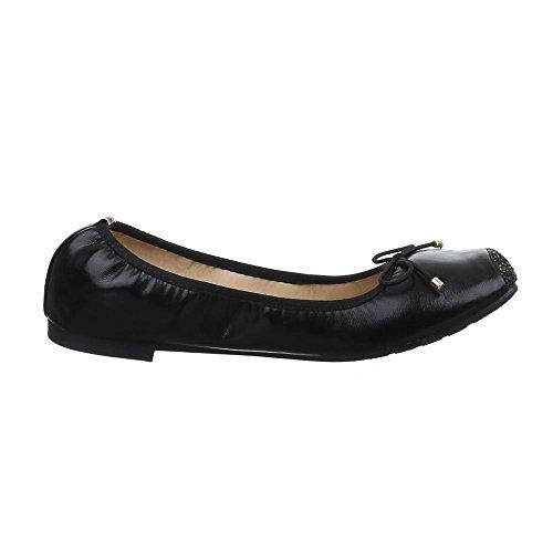 Damen Schuhe, 53498, BALLERINAS SCHLEIFEN DEKO GLITTER Schwarz