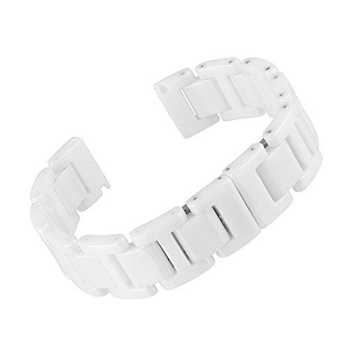 Beauty7 Bande Bracelet de Montre en Ceramique Blanc 14/16/18/20 mm Bande Deployante Remplacement Chaine du Montre Bande de Poignet Epaisse de 3.5mm