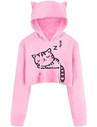 ❤️ Sudadera con Capucha Corta Sudadera Mujer, Sexy Casual Manga Larga Cat Kitty Imprimir Sudaderas Cortas Blusa Top Pullover Absolute