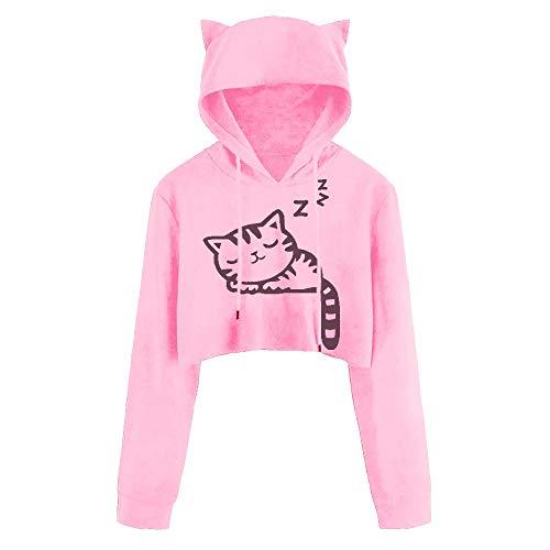 Xmiral Hoodie Pullover Damen Kapuzenpullover Casual Langarm Cat Kitty Print Kurze Bluse Top (S,Rosa)