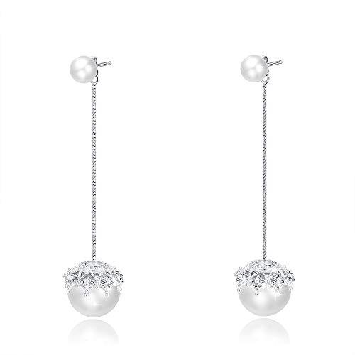 Zuzumia Pearl Drop orecchini a perno Orecchini Doppi gioielli per donne 925 Sterling Silver Line Orecchini in pizzo La scelta migliore per la festa della mamma