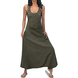OSYARD Combinaison Femme Été sans Manches Salopette Pantalon Bouffante Grande Taille Sarouel Baggy Longue Jumpsuit Taille S-5XL