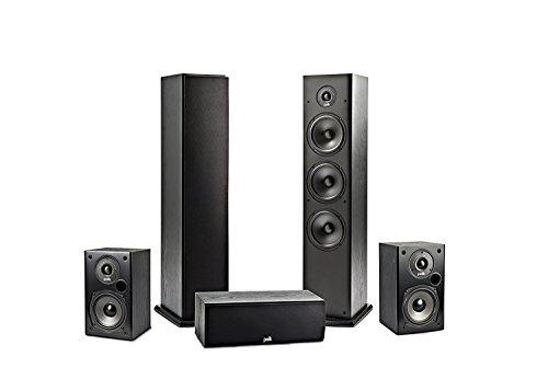 Polk Audio Lautsprecher-Set (2x T15 Regal-Lautsprecher + 2x T50 Standlautsprecher + 1x T30 Center-Lautsprecher) (Regal Center-lautsprecher)