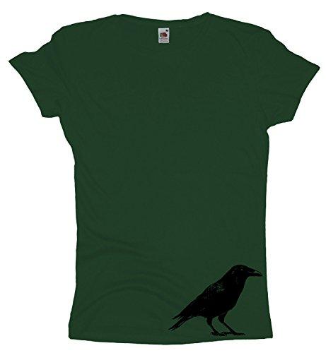 Ma2ca - Raven | Rabe Damen Girlie T- Shirt | Tierschutz | unten Bottle Green
