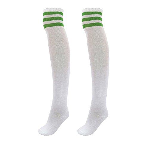 CHIC DIARY Damen Mädchen Kinder Strümpfe Overknee Kniestrümpfe gestreifte Sportsocken College Socks Baumwollstrümpfe (Gestreifte Weiße Socken)