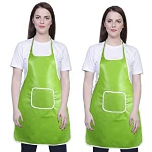 Yazlyn Collection Rexine Waterproof Kitchen Apron Green Color with Front Pocket-Set of 2