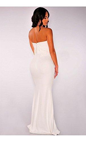 Mela Proibita - Vestito lungo donna maxi abito dress senza spalline cerimonia elegante scollato Bianco
