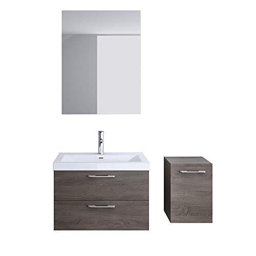 Meuble de salle de bains ensemble de 4-pièces, meuble sous vasque , vasque 76,5cm,miroir et rangement complémentaire droite Bavaria
