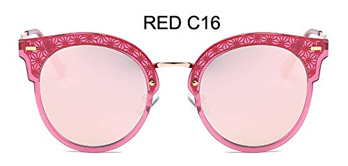LKVNHP Festival uv400 polarisierte cat EyeSonnenbrille Damen Spiegel Modehohe qualität Anti-reflektierendeFrauen Brille wpgj102 rot c16