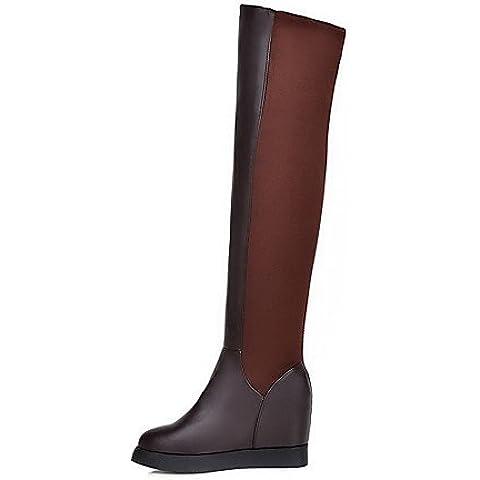 Donna Round punta chiusa pull-sulla miscela di materiali solidi scarponi High-Heels,marrone,US5 / EU35 / UK3 / CN34