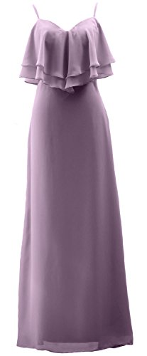 MACloth Spaghetti Straps Long Bridesmaid Dress Chiffon Wedding Party Formal Gown Wisteria