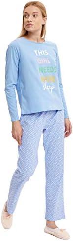 DeFacto Slogan Baskılı Uzun Kollu Baskılı Pijama Takımı Pijama Takımı Kadın